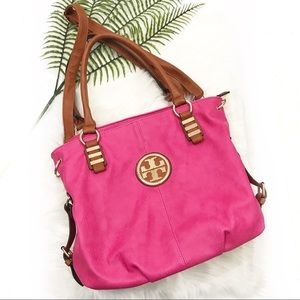 Tory Burch Detachable Strap Hobo Style Pink Purse
